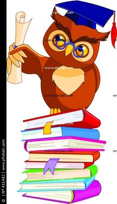 Royalty Free Vector Clip Art Illustration Of A Professor Owl Holding Diploma On Stack Books By Pushkin