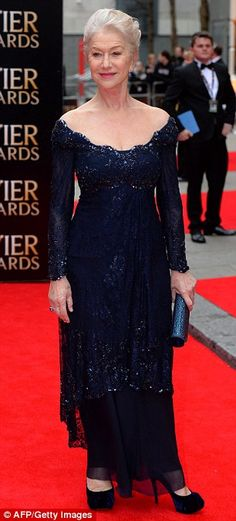 Dame Helen Mirren - Olivier awards 2013 ~ Helen wore an incredible midnight blue beaded gown that was off of both shoulders & featured a deeply scooped neckline that showed off her decolletage.