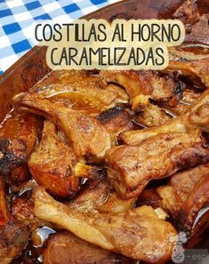 Caramelized baked pork ribs: the best recipe- Caramelized Baked Pork Ribs - Baked Chicken Recipes, Pork Chop Recipes, Meat Recipes, Mexican Food Recipes, Cooking Recipes, Healthy Recipes, Baked Pork Ribs, My Favorite Food, Favorite Recipes
