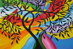 tree of life painting on canvas large huge bright colorful paintings art red…