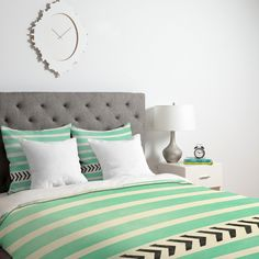 Allyson Johnson Mint Stripes And Arrows Duvet Cover   DENY Designs Home Accessories