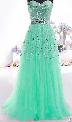 Cheap Sequin Long Prom Bridesmaid Ball Evening Party Formal Gowns Size 6+8+10-16