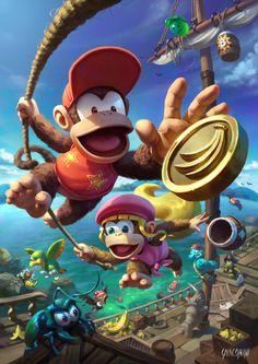 Donkey Kong Country 2 Fan Art 2017 on Behance Mario And Luigi, Mario Bros, Super Nintendo, Nintendo Games, Diddy Kong, Donkey Kong Country, Donkey Kong 64, Super Mario Art, Mario Fan Art
