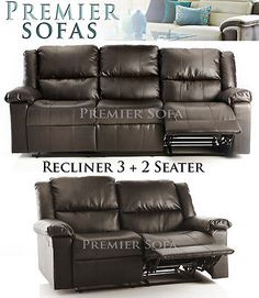 BRAND NEW HAVANA FULL REAL LEATHER RECLINER 3 + 2 SEATER SOFA IN BROWN OR BLACK £599