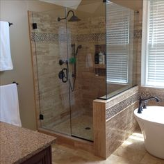 Beau After: Shower With Walnut Polished Vein Cut Travertine. 3 X 6 At The Top  With Walnut Pencils Framing The Bliss Cappuccino 5/8 Glass Tiles.