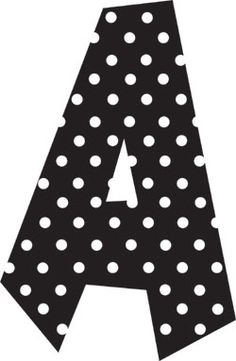 black and white polka dot letters