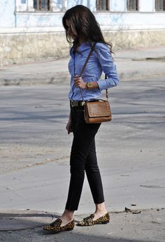 Blue blouse, black pants and leopard flats