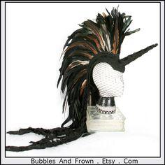 Tribal Unicorn Delux ... Unicorn Headdress with Feather Mohawk. $296.66, via Etsy.