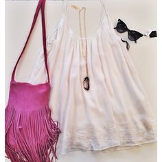 dress: Lovers & Friends - Fly Away Mini Dress $178 // necklace: Mere - pendant necklace $93 // sunglasses: WILDFOX La Femme black sunnies $169 // purse: Tabitha Sassy Fringe Bag