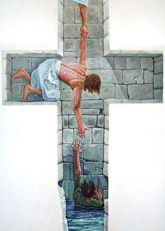 """""""Love"""" by Larry Cole This piece is another that incarnates a commonly held belief in Jesus acting as a bridge for the hurting. Not only does Jesus himself connect the human to what appears to be God, but it all happens in the arena of the cross."""