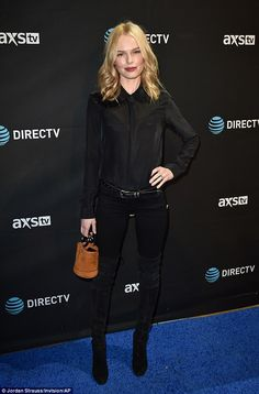 Back in black: Kate Bosworth opted for skinny black jeans and boots with a matching black ...