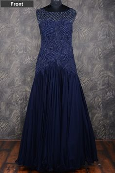 #Blue pretty #floor length #georgette gown with resham thread work-GW107