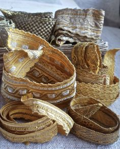 9 pc Antique Metallic Bullion Embroidery Pieces by BrocanteArt
