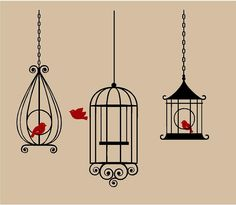 Set of 3 BIRD CAGES Hanging Vinyl Wall Decal Decor Wall Lettering Words Quotes Decals Art Custom. $29.95, via Etsy.