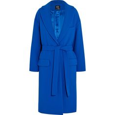 McQ Alexander McQueen Belted oversized crepe coat (£398) ❤ liked on Polyvore featuring outerwear, coats, blue, oversized coat, blue coat, mcq by alexander mcqueen and belted coat