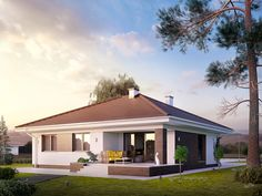 Projekt domu Kiwi 4 on Behance House Plans Mansion, My House Plans, Modern House Plans, House Plans With Pictures, House Design Pictures, House Outside Design, Small House Design, One Storey House, Modern Family House