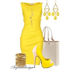 """Emilio Pucci Yellow Dress"" by arjanadesign on Polyvore"