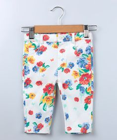 Look at this Beebay White & Red Floral Twill Pants - Infant & Toddler on #zulily today!