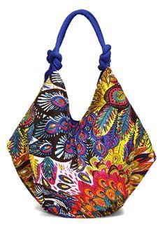 Peacock cotton bag by H2Z. Zingy colors!