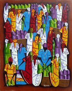 "Haitian Art, Haitian Painting, Canvas Art, Haitian Market Women, Hand Painted Canvas Painting, Original Art of Haiti - 20"" x 24"" by TropicAccents on Etsy"
