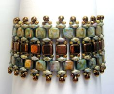 Unique SuperDuo Tile Bead Bracelet Embellished by ReggiesCreations, $30.00