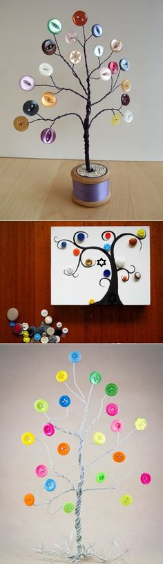 DIY Button Tree -- Would be cute on my desk; Lord knows I have enough extra buttons.