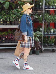 All American in denim, plaid and classic Nikes. Nike Cortez, Forrest Gump shoes, plaid dress, denim jacket, vintage Louis Vuitton bucket bag, straw hat