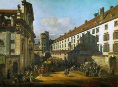 Rechts das Jesuitenkloster samt Stöcklgebäude und Sternwarteturm, Gemälde von Bernardo Bellotto, um 1760