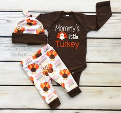 Baby Boys First Thanksgiving Outfit, Brown Infant Bodysuit, Leggings And Hat With Turkeys, Baby Boy's Thanksgiving Outfit Set by CustomStylesBoutique on Etsy https://www.etsy.com/listing/480682363/baby-boys-first-thanksgiving-outfit