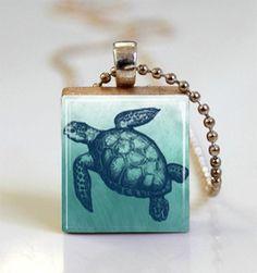 Turtle Necklace Blue Sea Turtle Jewelry by MissingPiecesStudio, $7.95