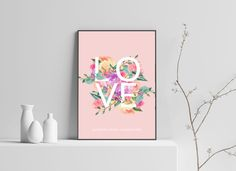 Share the love with this stylish floral love print. Poster Prints, Posters, Gallery Wall, Christmas Gifts, Anniversary, Love, Create, Birthday, Floral
