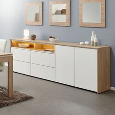 Sideboard with LED 2 doors 4 drawers white and clear oak Solene, Crockery Cabinet, Buffet Cabinet, Interior Design Living Room, Living Room Designs, Living Room Decor, Bedroom Decor, Muebles Living, Modern Kitchen Interiors, Cabinet Design