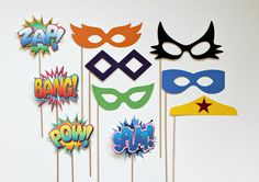 Vintage Super Hero Photo Booth Props. Glasses Props and Shout Out Shout Outs on a Stick. $44.75, via Etsy.