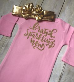 Brand Sparkling New Sparkly Glitter Gold Infant Sleep Gown