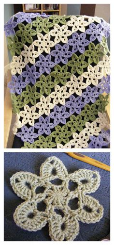 How to Crochet Japanese Pastel Wooly Flowers. Free. Make a blanket.