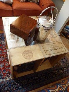 Very cool coffee table made out of wine crates all for Coffee table made out of wine crates