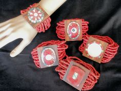 Hand made beaded shell #bracelet coral red #multi #strand fair trade wood abalone,  View more on the LINK: 	http://www.zeppy.io/product/gb/2/122204803145/