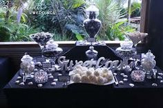 lolly buffet black silver white - Google Search Lolly Buffet, Black Silver, Table Settings, Table Decorations, Engagement Ideas, Beautiful, Google Search, Home Decor, Decoration Home