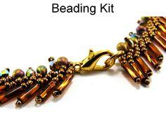 Phoenix St. Petersburg Chain Stitch Beaded Necklace Bronze Green Beading Kit
