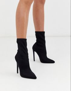 Find the best selection of ASOS DESIGN Esmerelda high heeled sock boots in black. Shop today with free delivery and returns (Ts&Cs apply) with ASOS! Socks And Heels, High Heel Boots, High Heel Pumps, Pumps Heels, Heeled Boots, Shoe Boots, Flat Boots, Women's Boots, Black Stiletto Heels
