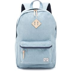 Herschel Supply Co. Heritage Backpack ($96) ❤ liked on Polyvore featuring bags, backpacks, denim, knapsack bags, herschel supply co backpack, zip top bag, padded backpack и blue bag