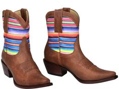 Kacey for Lucchese Boots | Blanket your foot in Monterrey's festive style. Constructed with slightly distressed, tan leather, this cowgirl ankle bootie features a vibrant Southwestern-accented shaft, pull straps with decorative stitching, and a Western toe bug.  8-inch shaft hits above the ankle. Classic cowgirl toe and 2-inch heel. Leather sole. Handmade. #KaceyforLucchese #LuccheseBoots #KaceyMusgraves