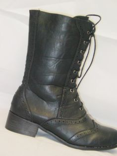 Victorian Style Old West Low heeled Black Granny Boots Black Sizes 6 10 | eBay