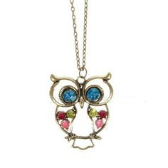 Colored Rhinestone Owl Shape Necklace $5.60