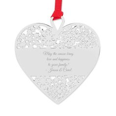 Adorn the Christmas tree with our personalized Heart Snowflake Ornament. Silver with a red ribbon, this heart-shaped ornament features a snowflake design with an area for engraving in the center. Engrave names, a monogram or a special holiday message on the front of this ornament.  https://www.thingsremembered.com/heart-snowflake-ornament/product/348567?fcref=pinterest