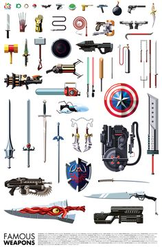 Artist Daniel Nyari (of famous robots fame) has just created this print of famous weapons from video games, comic characters, and movies. I& not really sure how Tetris blocks (tetrominoes) count as weapons, but I suppose if you beat. King's Quest, Punch Man, Univers Dc, By Any Means Necessary, Weapon Concept Art, Armor Concept, Famous Movies, Fantasy Weapons, Geek Out