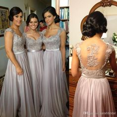 Wholesale Cheap Coral Long Crystal Chiffon Maternity Maid of Honor Dress 2014 New Backless Sheer Grey Sexy Bridesmaid Dresses Formal Bridesmaids Gowns, Free shipping, $98.7/Piece | DHgate Mobile