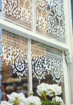 DIY window detail- spray paint over old lace. Decor - Could use stencils, too. Window Coverings, Window Treatments, Old Windows, Porch Windows, Cottage Windows, Kitchen Windows, Farmhouse Windows, Bathroom Windows, Front Windows