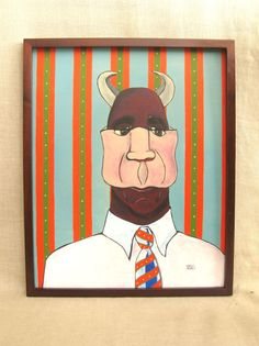 Surreal Art Surrealism Male Portrait Painting Devil by wilshepherd