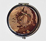 Victorian Witch Compact Mirror Halloween Witchcraft Black Cat Wicca Broom Make Up Pocket Mirror for Cosmetics
